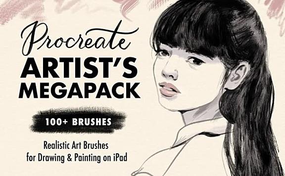 艺术水彩绘画Procreate笔刷套装合集共100多款