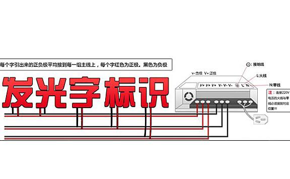 广告发光字标识电源接线图
