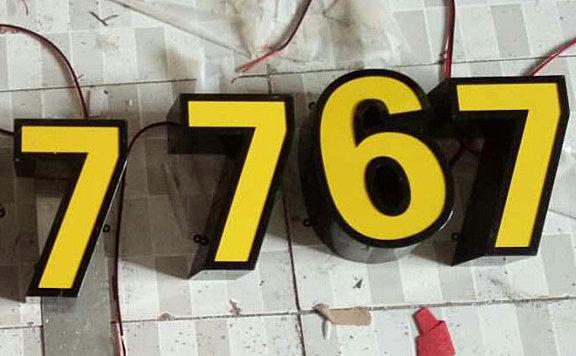 电话号码数字铁皮字喷漆 玻璃胶亚克力面板发光字欣赏